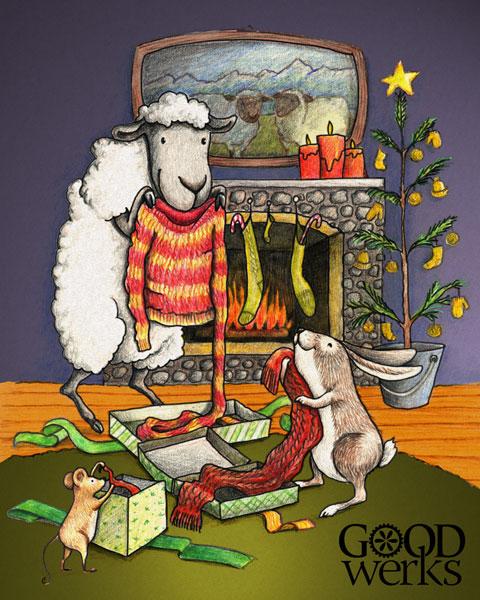 Marla Goodman illustration for Yarn Shop holiday card.