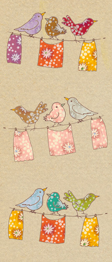 bird drawing with vintage fabric fills