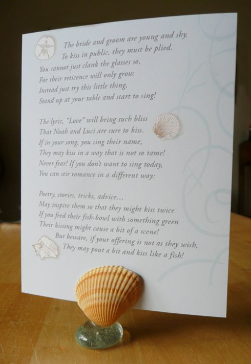 beach wedding table poem