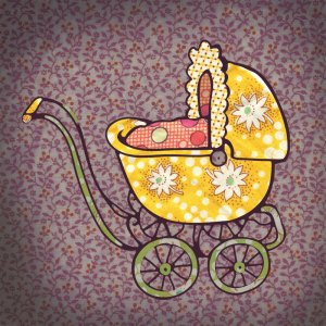 baby carriage illustration using vintage fabric scraps