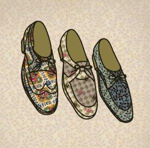 shoe illustration using vintage fabric scraps