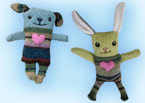 Sweater puppy and bunny painstaking and inexpertly wrought by Marla Goodman
