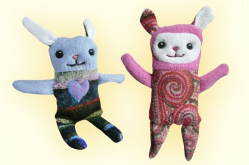 Wonky sweater animals - inexpertly and painstakingly sewn by Marla Goodman