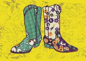 Bootscape 2 - fabric illustration by Marla Goodman