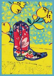 Bootscape 3 - fabric illustration by Marla Goodman