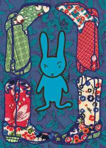 Bunny Boots 1 - fabric illustration by Marla Goodman