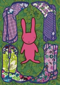 Bunny Boots 3 - fabric illustration by Marla Goodman