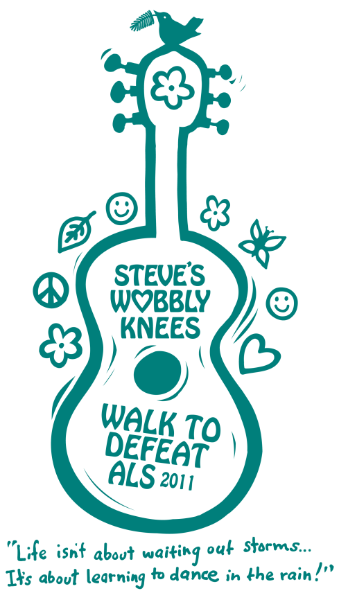 Steve's Wobbly Knees - Walk to Defeat ALS - Tee Shirt design by Marla Goodman