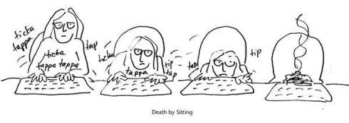 Death By Sitting cartoon by Marla Goodman
