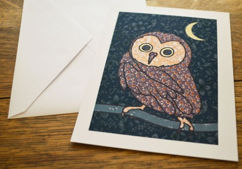 owl vintage farbic illustration by marla goodman
