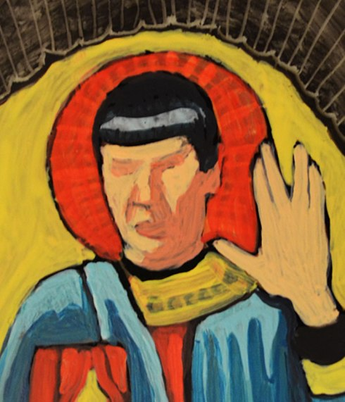 St. Spock - egg tempera on glass - detail from back. Marla Goodman
