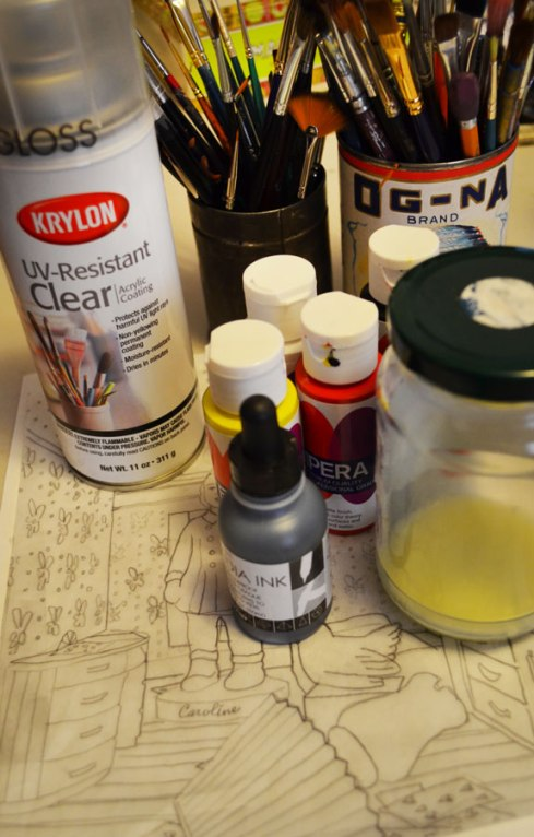 Tempera painting materials: clear gloss acrylic coating, india ink, tempera paint, tracing paper, egg emulsion (1:1 egg yolk and water with a couple drops of vinegar. (Keeps sealed and refrigerated for a month or so.)