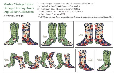 cowboy boot vintage fabric collage illustrations - marla goodman