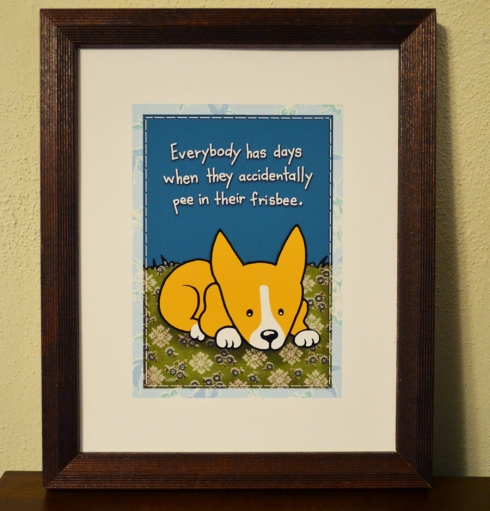 cute sad corgi illustration by Marla Goodman