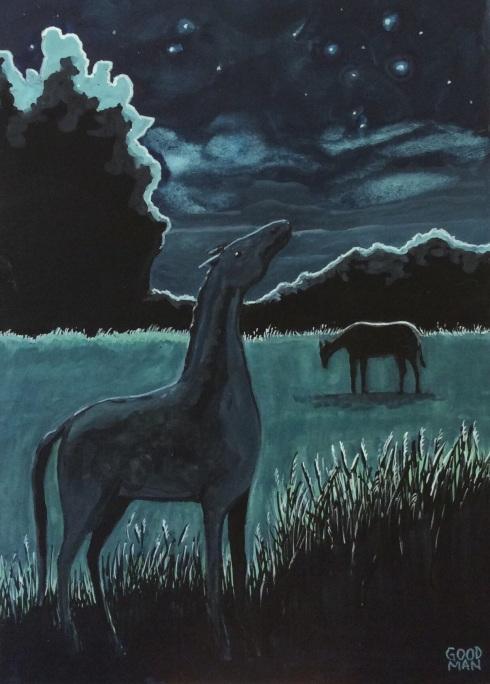 Night Horse - 5x7 gouache Marla Goodman