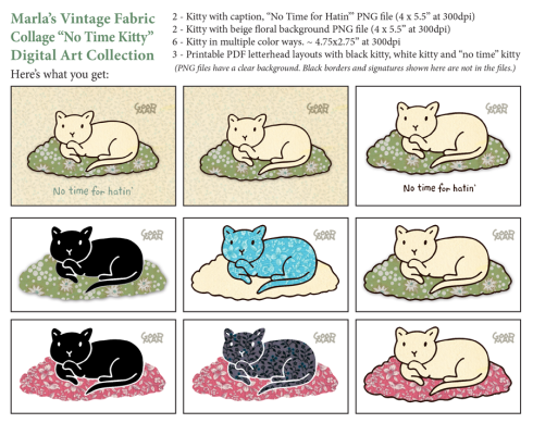 vintage fabric kitty illustration by Marla Goodman