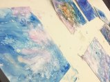 The painters experimented with the effects of oil pastel, salt crystals and alcohol with watercolor.