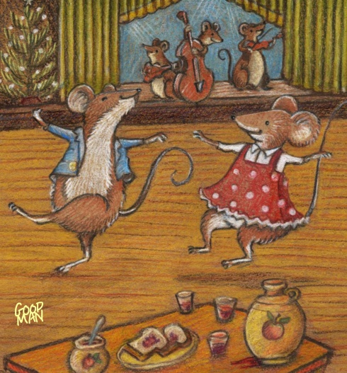 Mouse dancing illustration by Marla Goodman